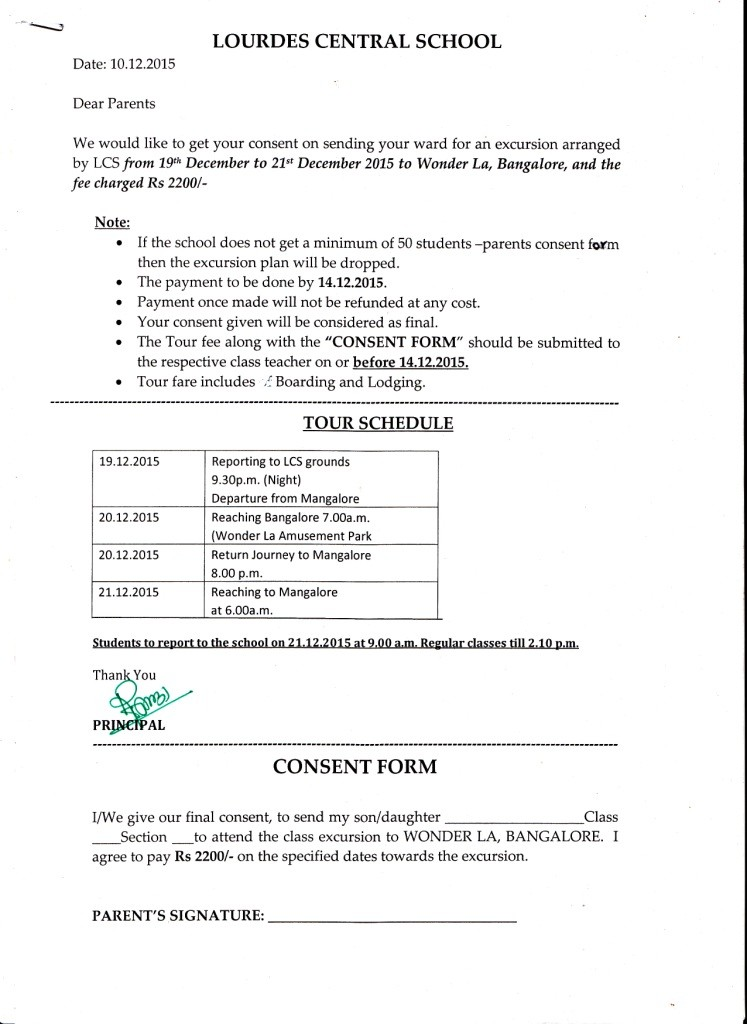 Circular regarding Class X Excursion - Lourdes Central School, Bijai