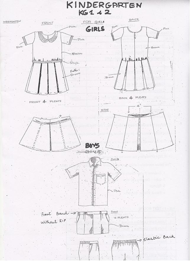 Uniform pattern for the kindergarten class kg I & kg II