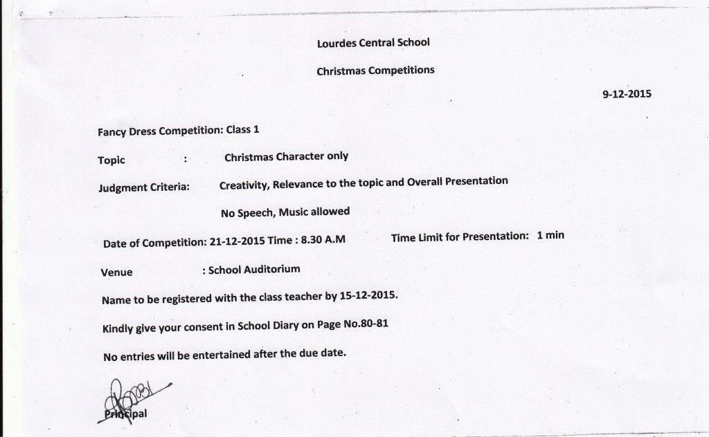 CHRISTMAS COMPETITION 2015- CLASS 1