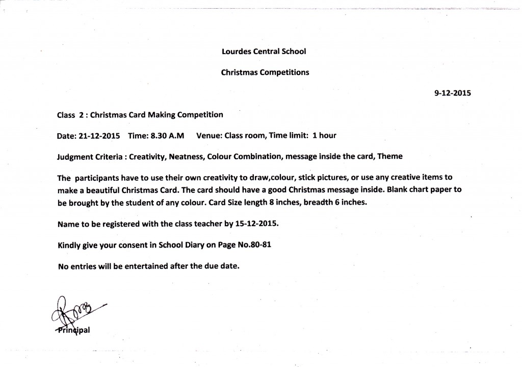 CHRISTMAS COMPETITION 2015- CLASS 2