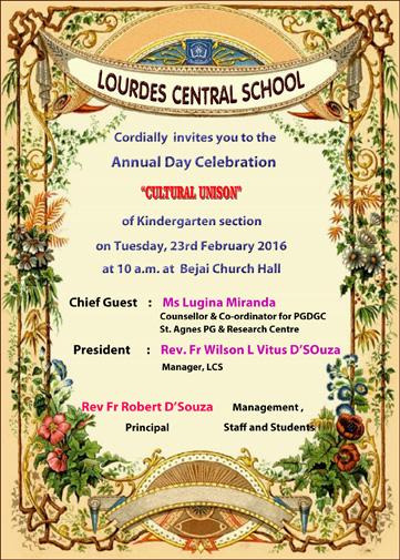 Kg Annual Day Invitation 2016 Lourdes Central School Bijai