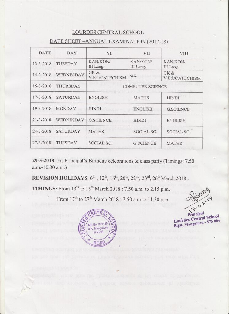 ANNUAL EXAM TIME TABLE - CLASS 6 TO 8 -2017-18